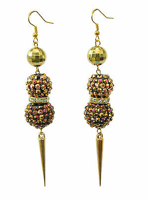 Shamballa Style Gold with Colourful Shadow Resin Disco Balls Spike Earrings E277 ()