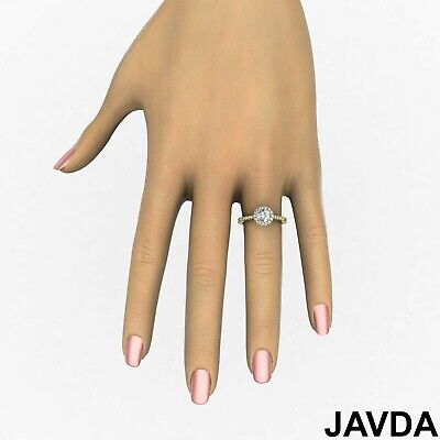Halo French V Pave Women's Round Diamond Engagement Ring GIA E Color VVS2 1.71Ct 7