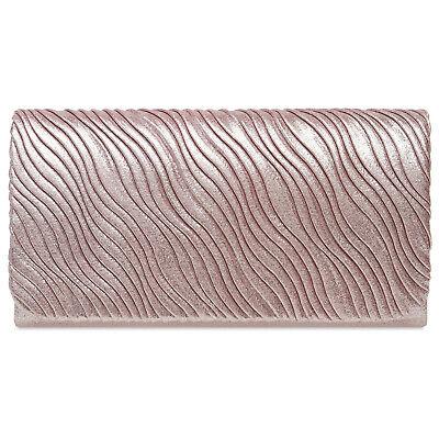 Damen-satin-clutch (CASPAR TA519 Damen Satin Clutch Tasche Abendtasche elegant mit Wellenmuster)
