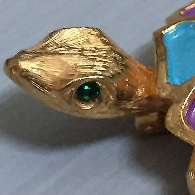 Vintage Signed JEANNE Pin Green Eyed Painted Turtle Tortoise Gold Tone Brooch