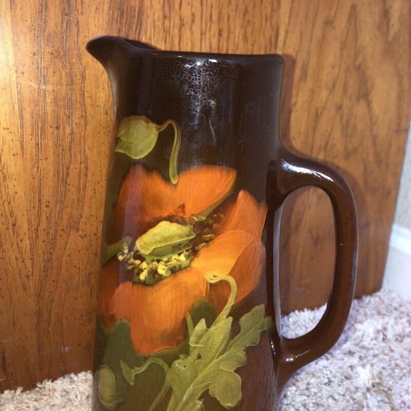 "Weller Art Pottery Tankard Pitcher Brown Glaze/Floral No Chips 10"" #580"