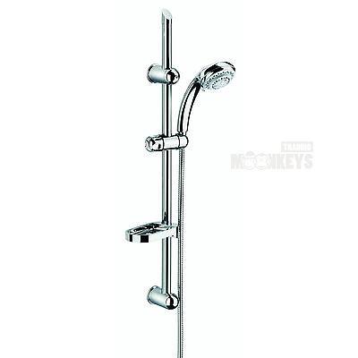 Dusch Set Komplett mit Handbrause Duschstange Duschschlauch Seifenschale DS2