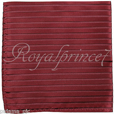 100% New Men's Pocket Square Handkerchief Hankie Only burgundy Red Stripes