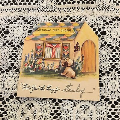 Vintage Greeting Card Birthday Gift Shop Shoppe Store Doggie