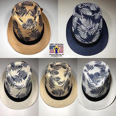 Cuban Hat (Straw Fedora Hat Blue Cuban Blue Summer Beach Sun Panama Short Brim Men Women)