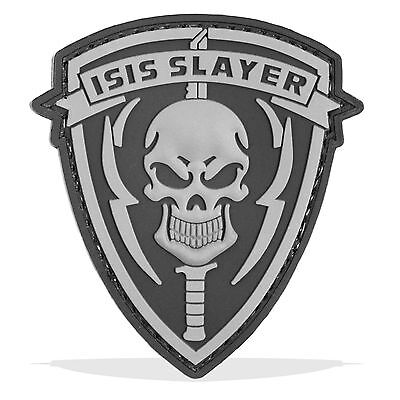 3D PVC ISIS Slayer Skull Military Army Tactical Airsoft Biker Morale Patch Grey