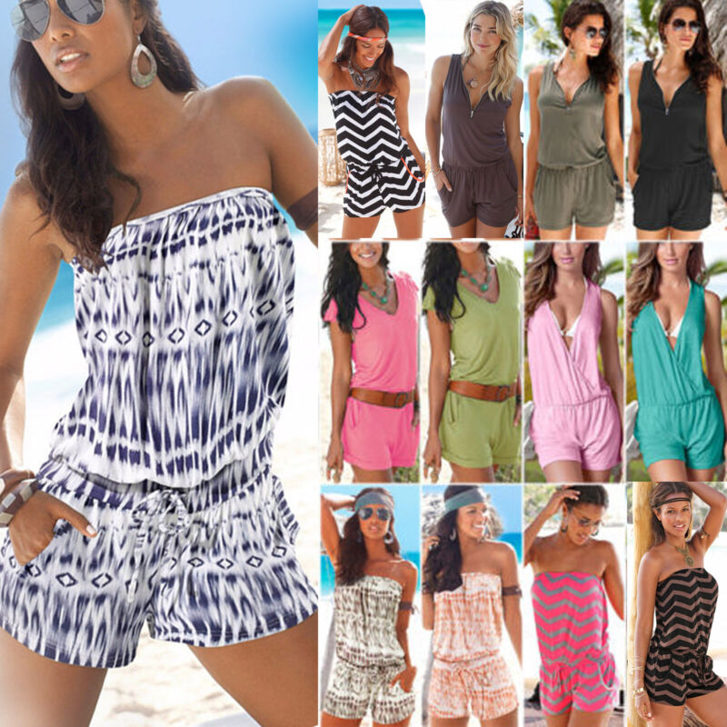Damen Sommer Kurz Overall Jumpsuit Hosenanzug Sommerhose Strand Tunika Minikleid