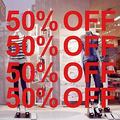 4 x 50% OFF Black Friday Sale Shop Window Sign Retail Decal Vinyl Stickers 60x11