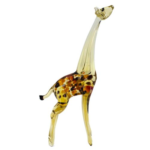 "Lampwork Hand Blown Glass Giraffe Stretching Up Figurine 6.5"" High New"