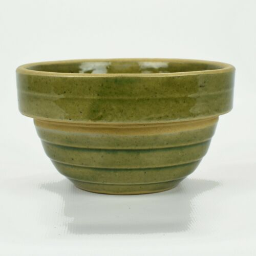 "Vintage Monmouth Pottery Green 5"" Shingled Stoneware mixing bowl c1930-40s"