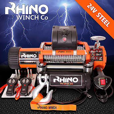 24v 4 x 4 Recovery Winch  13500lb (Not 13000lb) - Heavy Duty - Two Remotes + + +