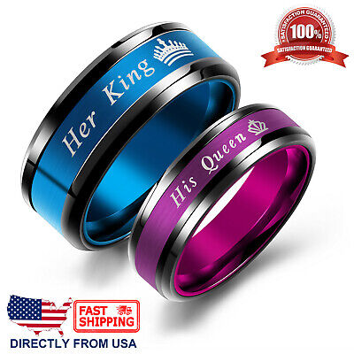 King Queen His or Her Couple's Matching Promise Ring Comfort Fit Wedding (Comfortable Fitting Wedding Bands)