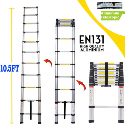 Portable Aluminum Telescopic Extension Ladder Folding 11 Ste
