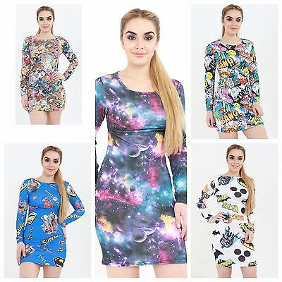 WOMENS CELEB BANG GALAXY SUPERMAN BATMAN BARBIE PRINT BODYCON TUNIC MINI DRESS