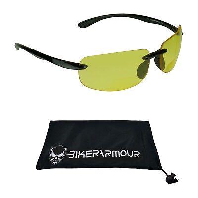 Yellow Lens BIFOCAL sunglasses   Night Driving Cycling Reader Glasses Men (Ladies Night Driving Glasses)