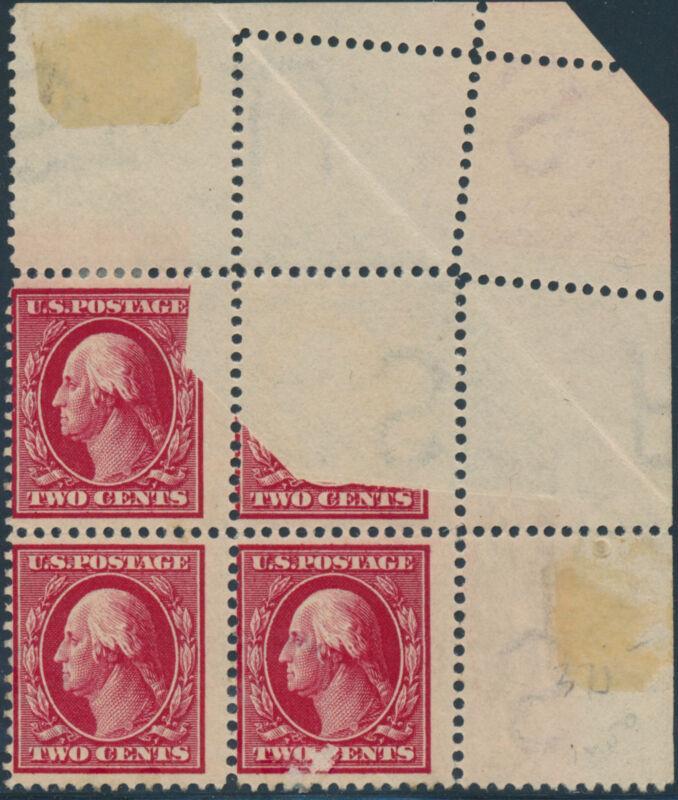 #375 Var. Blk/4 Dramatic Foldover Error W/ Printing On Reverse Bp1658