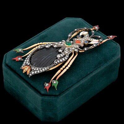 Antique Vintage Deco 18k Gold 900 Platinum Egyptian Scarab Diamond Pin Brooch