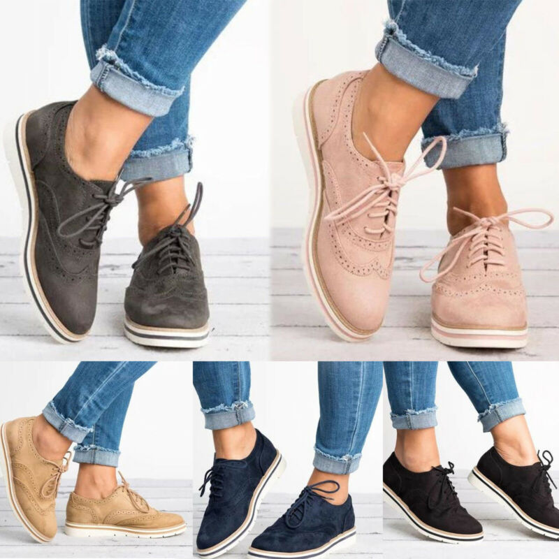 Women's Brogues Casual Comfy Flat Lace Up Oxfords Office Wor