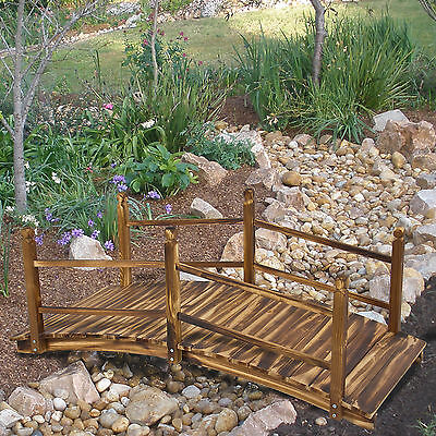 Wooden Bridge 5' Stained Finish Decorative Solid Wood Garden Pond Bridge New