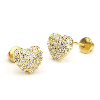 14k Gold Plated Domed Heart Pave Children Screwback Baby Girls Earrings