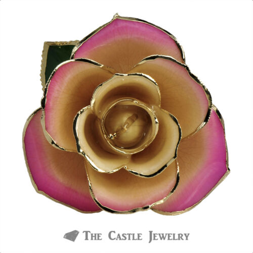 Genuine Faded Pink Rose Preserved Lacquer Dipped 24K Gold Long Stemmed