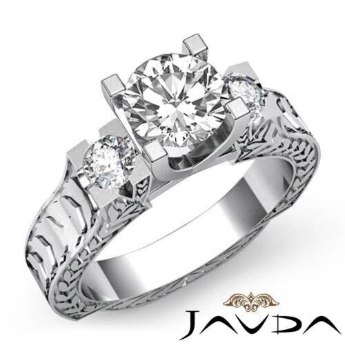 1.85ct Round Shape Diamond 3 Stone Engagement GIA F VS2 Platinum Filigree Ring