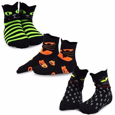 TeeHee Halloween Kids  Fun Crew Socks 3-Pair Pack (Cat Faces) (Cat Face Halloween Kids)