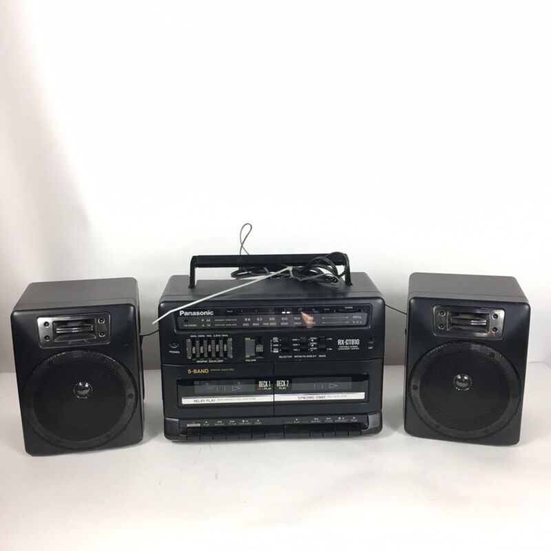 Panasonic Rx-ct810 Boombox Black Am/fm Radio And Dual Cassette Player Tested