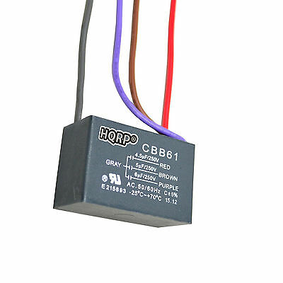 HQRP Capacitor for Harbor Breeze Ceiling Fan 4.5uf+5uf+6uf 4-Wire, CBB61