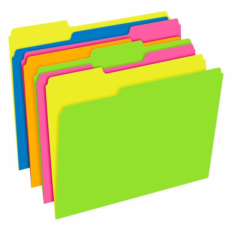Pendaflex Glow Twisted 3-Tab File Folder Letter Size Multicolor 40526