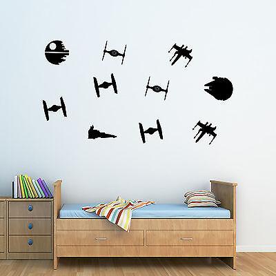 Personalised Star Wars Boys Spaceships Wall Art Sticker - Bedroom -
