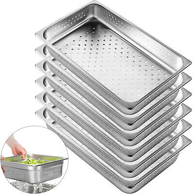 Perforated Steam Table Pan Hotel Full Size 2.5deep Stainless Steel Pans 6 Pack