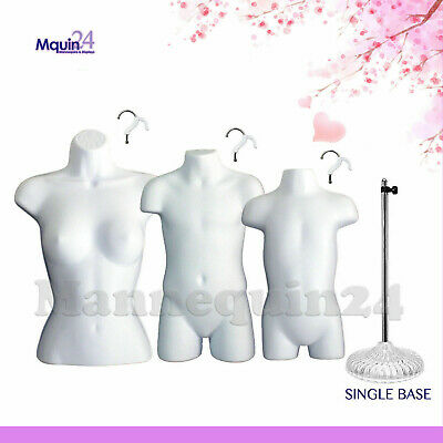 White Female Child Toddler Mannequin Torso Dress Forms Set 3 Hangers 1 Stand