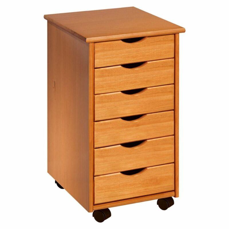 Medium Pine 6 Drawer Rolling Storage File Cabinet Craft Cart Office Organizer