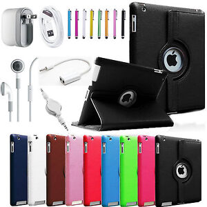 The New iPad 4 4G Gen 3 3rd 2 360 Rotating Magnetic Leather PU Case Smart Cover