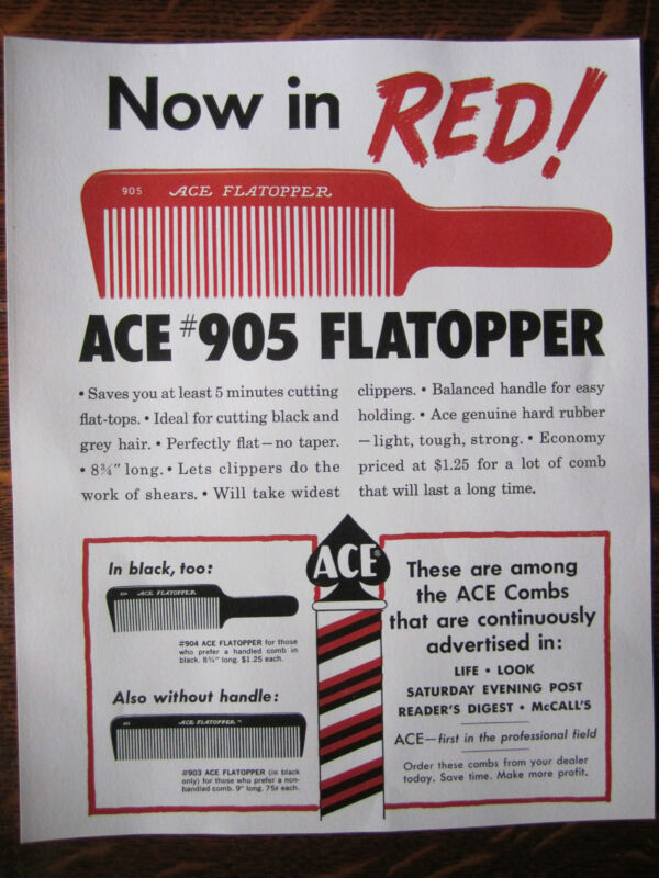 Vintage Barbershop ACE COMBS #905 RED FLATOPPER COLOR SIGN/AD ACE BARBERPOLE