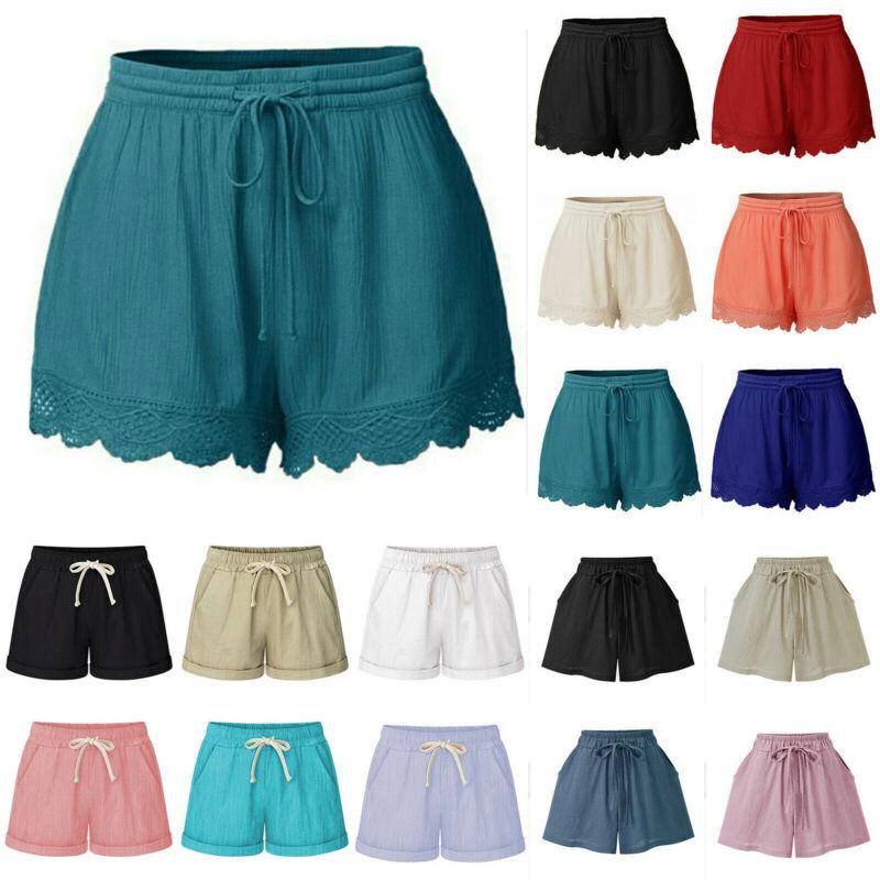 Damen Lose Strandhose Sommerhose Kurze Hose Bermuda Shorts Hot Pants Stoffhosen