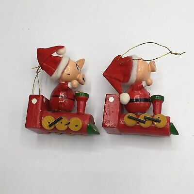 Pigs on Trains Vintage Wooden Christmas Tree Ornaments Set of 2