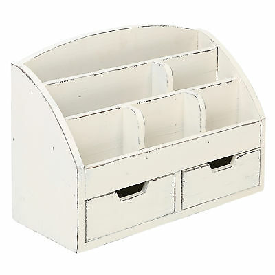 Vintage White Wood Desk Organizer6 Compartment2 Drawer Office Supplies Cabinet