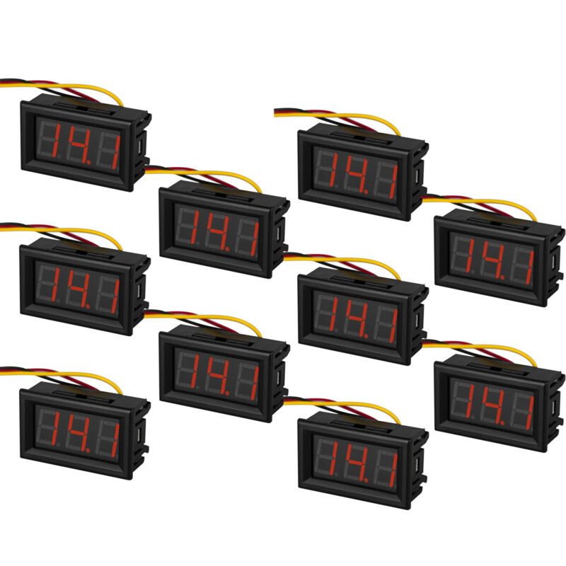 "10pcs 0.56"" Red LED Digital Voltage Meter Panel DC 0-100V Reading Display 3 Wire"