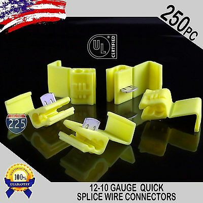 250 Pack 12-10 Gauge Yellow Quick Splice Tap Wire Connectors Terminals Ul Taiwan