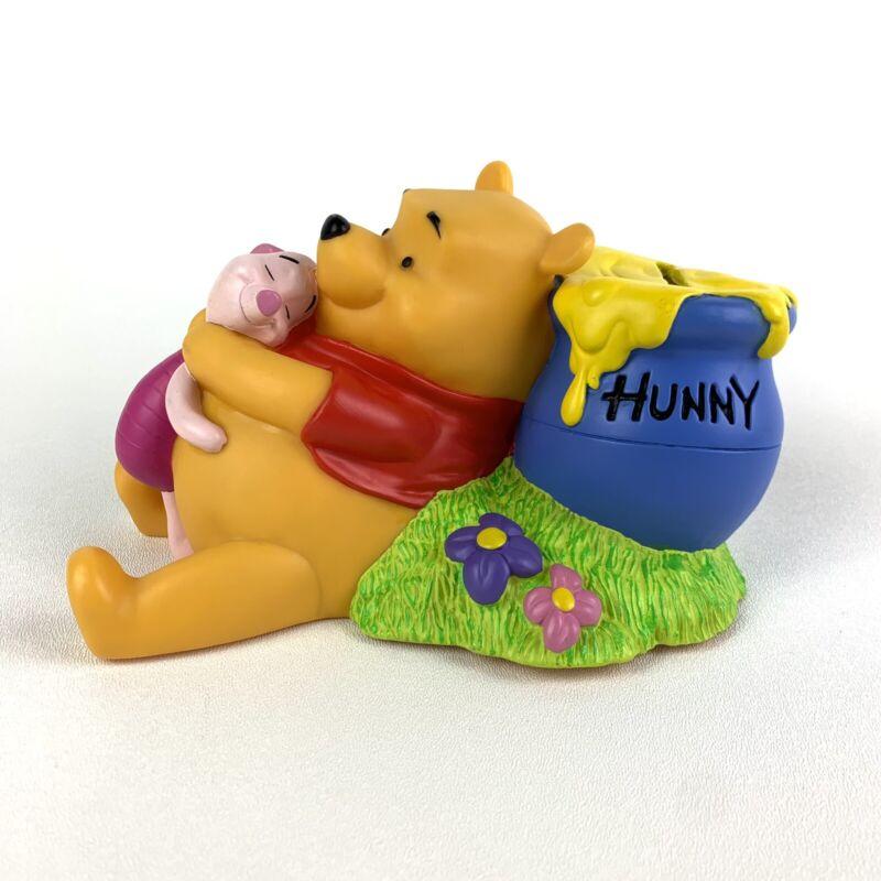 Vintage Disney Winnie The Pooh Vinyl Bank with Pooh & Piglet Honey Pot Applause