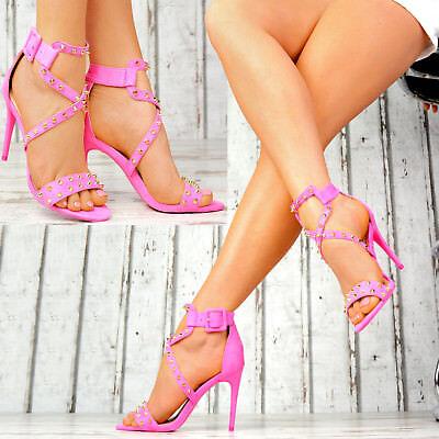Neu Designer Gladiator Damenschuhe NIETEN High Heels Party Pumps Sandalen Sexy Sexy High Heel Sandalen