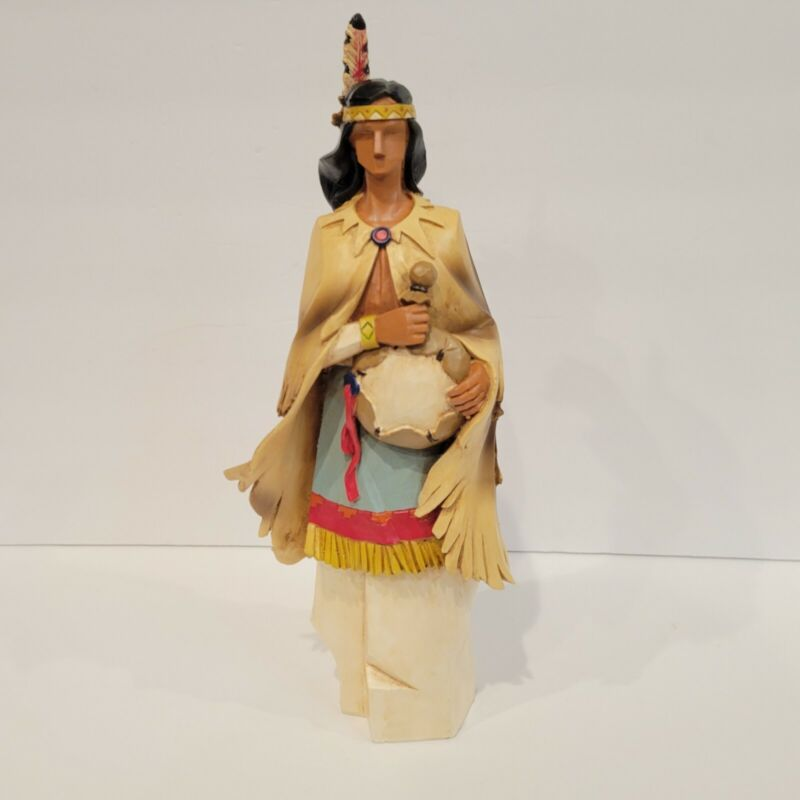 Thanksgiving Native American Indian woman  Figurine Primitive Rustic Pacific Rim