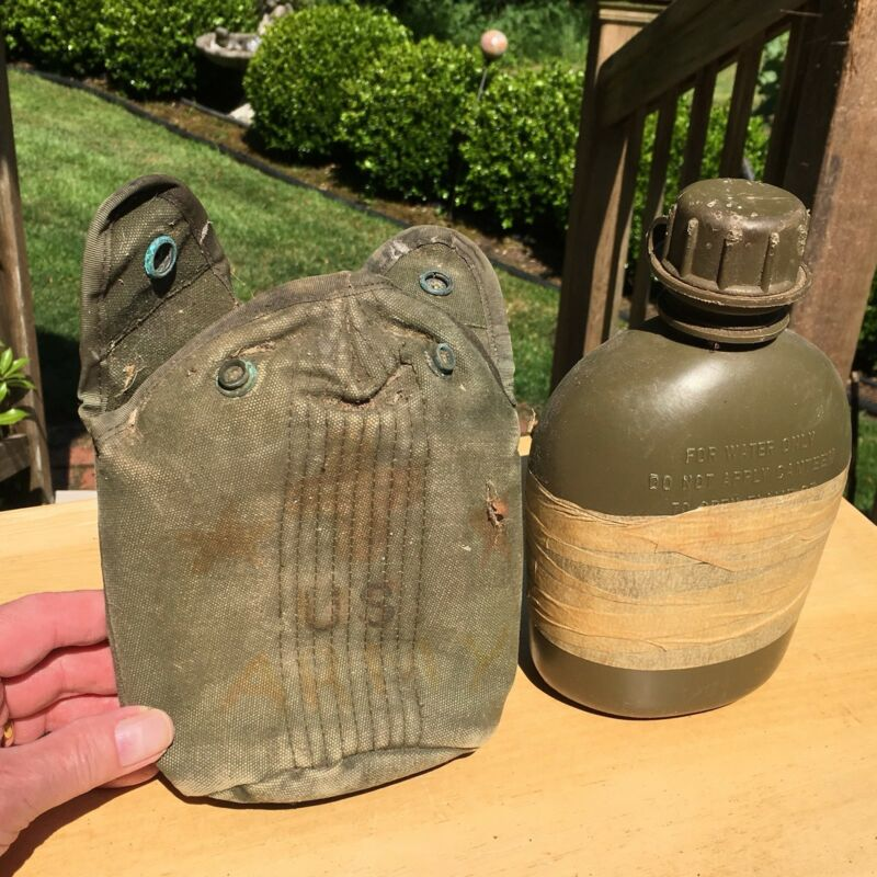 US Military Army 1 QT Hard Plastic Canteen w/ Cover OD USA MADE 1965