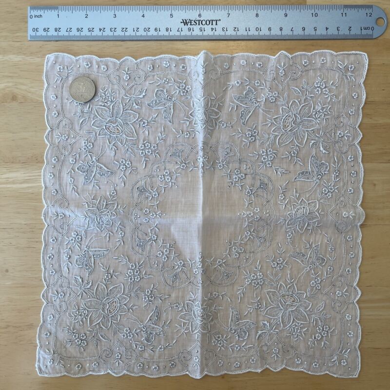 """Vintage Hand and Machine Embroidered Swiss Appenzell Bridal Handkerchief 11"""""""