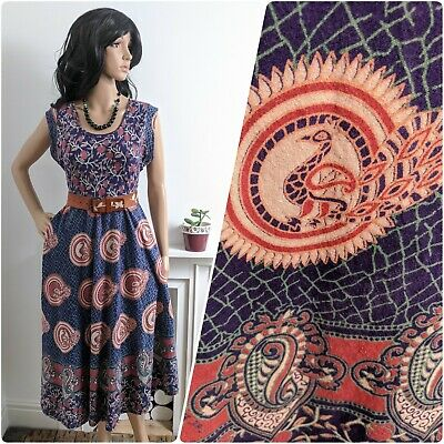 Vintage 70s Indian Peacock Block Print Floral Cotton Midi Dress S M 8 10 12 38