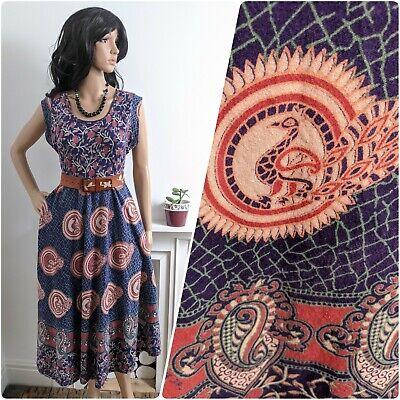 Vintage 70s Indian Peacock Block Print Floral Cotton Midi Dress S M 10 12 38 40
