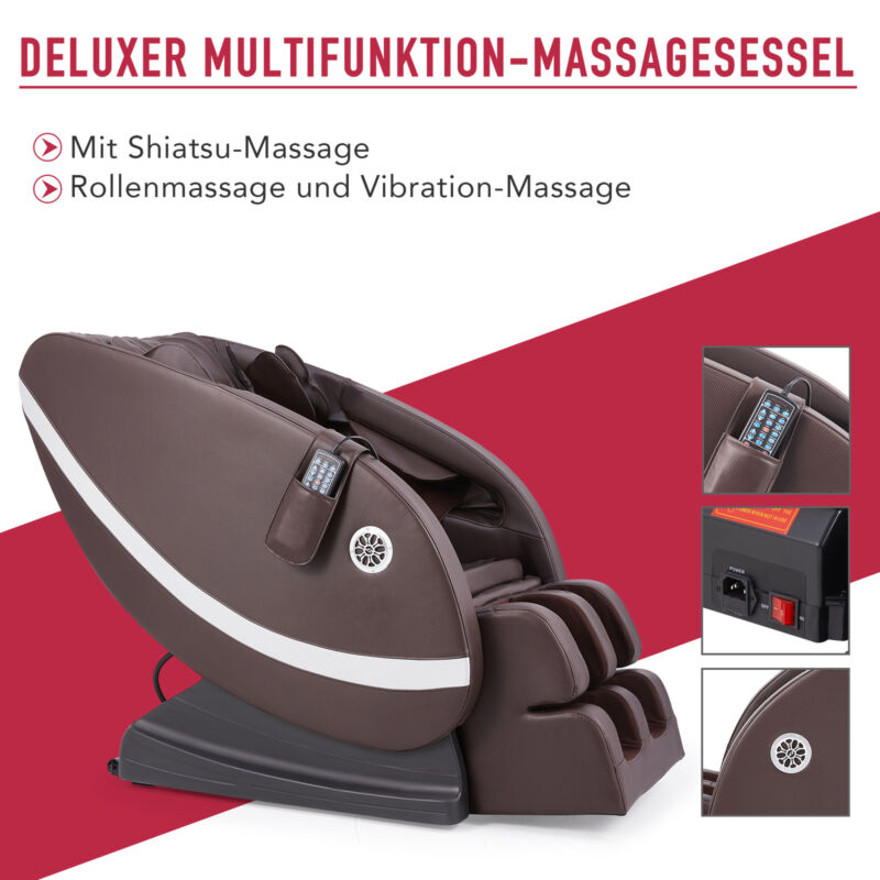 DELUXER MASSAGESESSEL MIT HEIZUNG RELAXSESSEL MULTIFUNKTION MASSAGE SESSEL