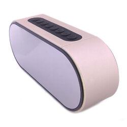 Bluetooth Stereo Speaker Alarm Clock Portable Player LED Mirror